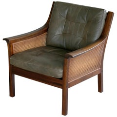 Lounge Chair in Beech and Olive Leather with Woven Cane by Torbjorn Afdal