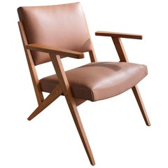 Lounge Chair in Caviona Wood and Tan Leather by José Zanine Caldas, 1960s