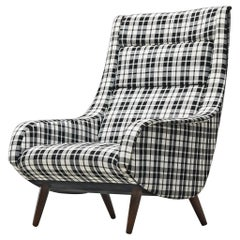 Lounge Chair in Checkered Upholstery