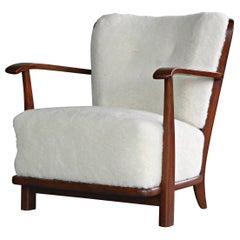Lounge Chair in Lambswool Frits Schlegel Model 1594 for Fritz Hansen, 1940s