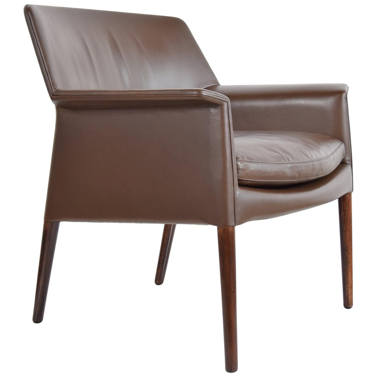 Lounge Chair in Leather and Rosewood by Larsen and Madsen
