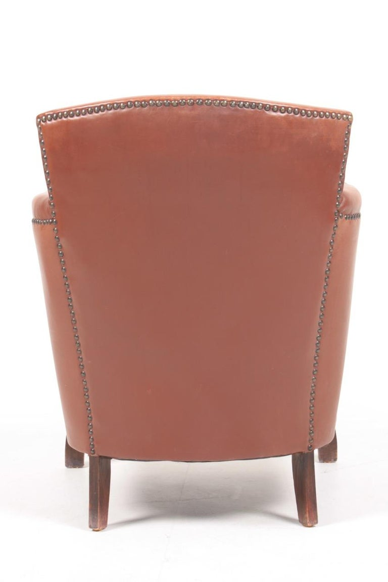 Lounge Chair in Patinated Leather and Boucle Designed by Otto Schulz For Sale 1