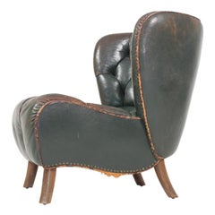 Lounge Chair in Patinated Leather, Made in Denmark, 1940s