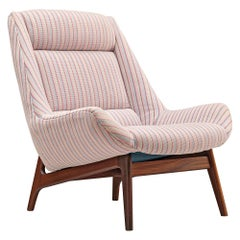 Lounge Chair in Pink Striped Upholstery
