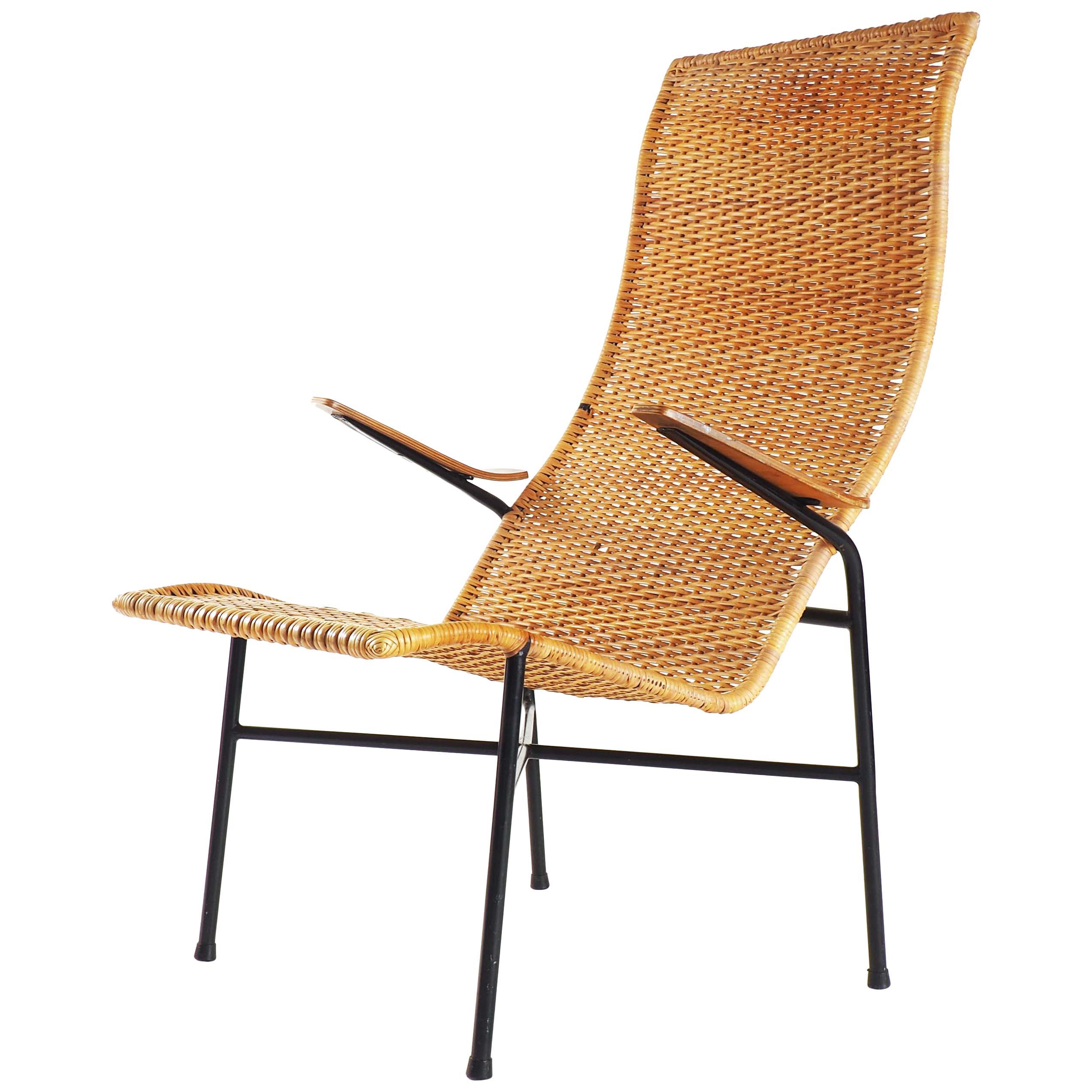 Lounge Chair in Rattan, Teak and Metal