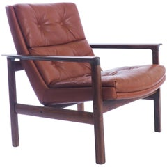 Lounge Chair in Rosewood and Leather by Fredrik Kayser, Norway