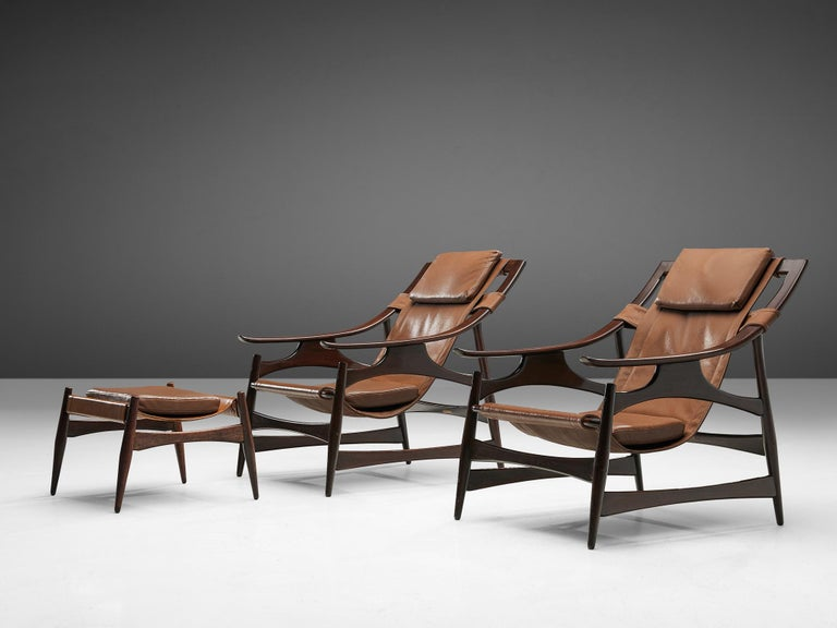 Lounge Chair in Brazillian Walnut by Liceu De Artes Sao Paulo For Sale 4