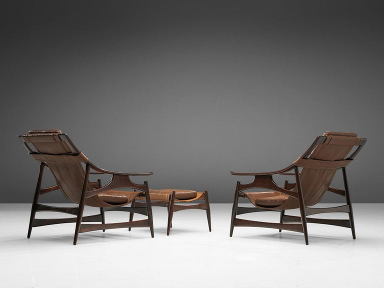 Lounge Chair in Brazillian Walnut by Liceu De Artes Sao Paulo For Sale 5