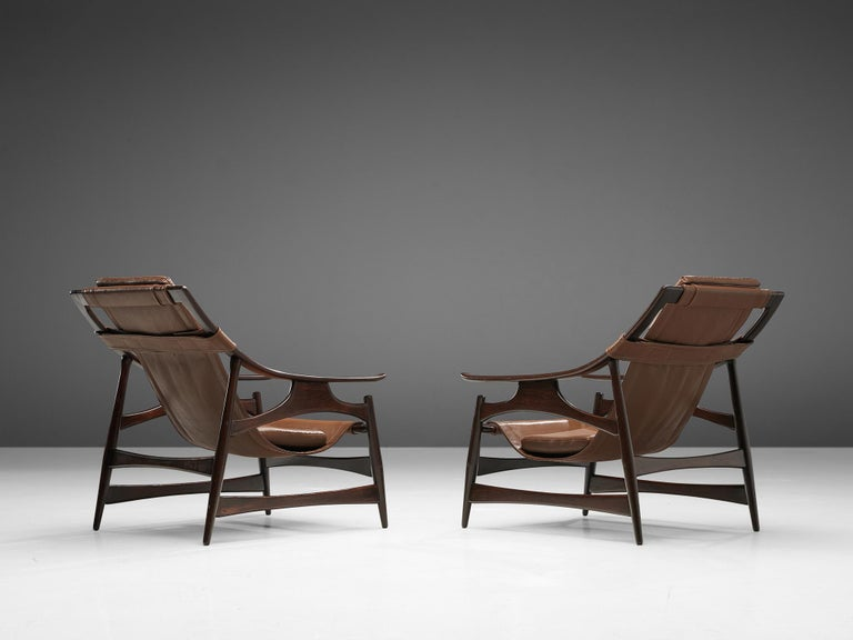 Mid-Century Modern Lounge Chair in Brazillian Walnut by Liceu De Artes Sao Paulo For Sale