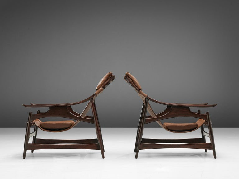 Brazilian Lounge Chair in Brazillian Walnut by Liceu De Artes Sao Paulo For Sale