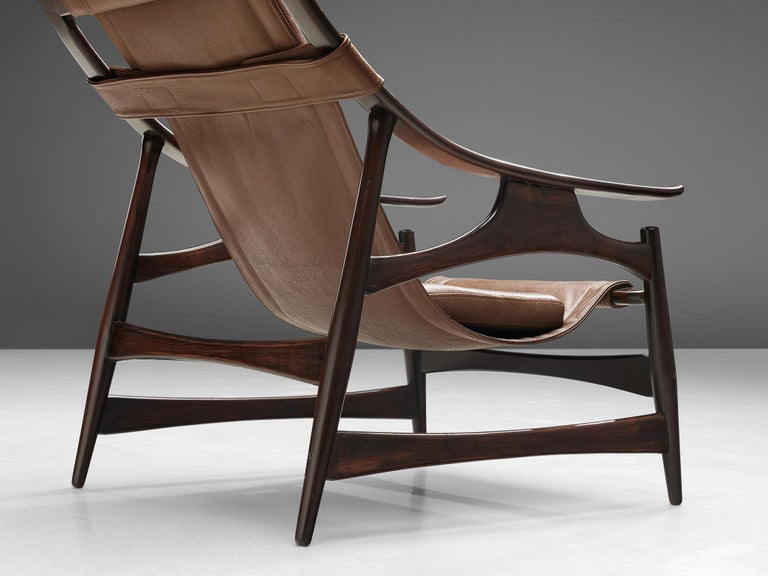 Mid-20th Century Lounge Chair in Brazillian Walnut by Liceu De Artes Sao Paulo For Sale