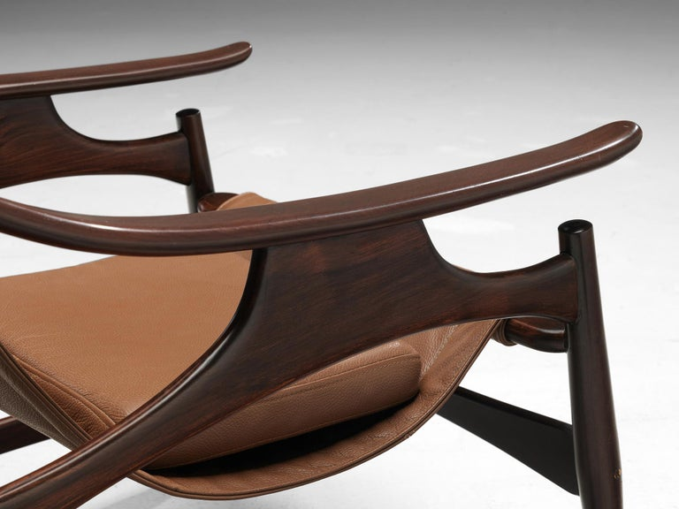 Leather Lounge Chair in Brazillian Walnut by Liceu De Artes Sao Paulo For Sale