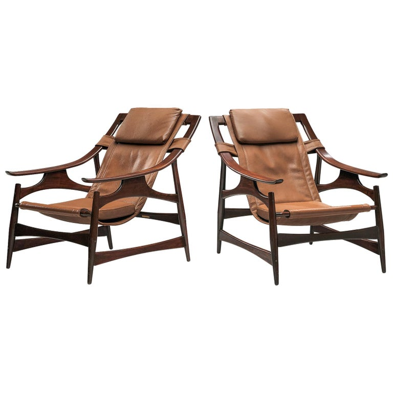 Lounge Chair in Brazillian Walnut by Liceu De Artes Sao Paulo For Sale