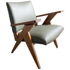 Lounge Chair in Sage Green Leather & Wood Frame by José Zanine Caldas, 1960s