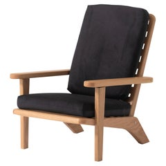 Lounge Chair in Solid Oak Wood with Black Textile Cushion and Reclining Backrest