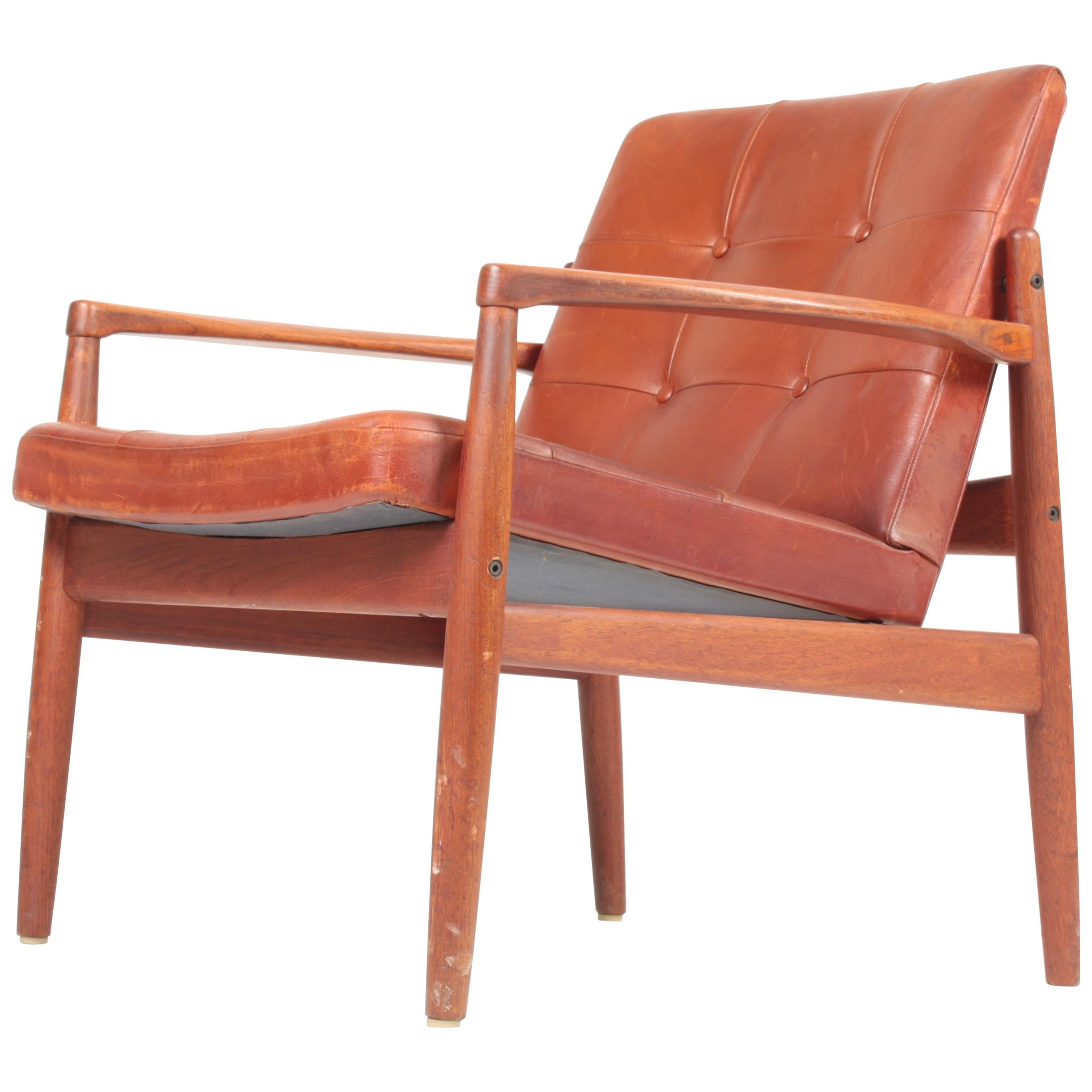 Lounge Chair in Teak and Patinated Leather by Tove & Edvard Kindt-Larsen, 1960s