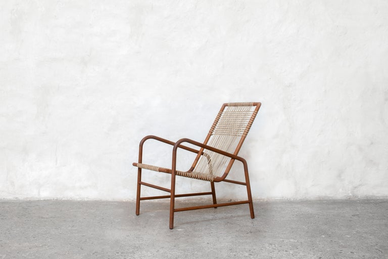 Indian Lounge Chair in Teak with Woven Seat in Rope Handmade by Studio Mumbai For Sale