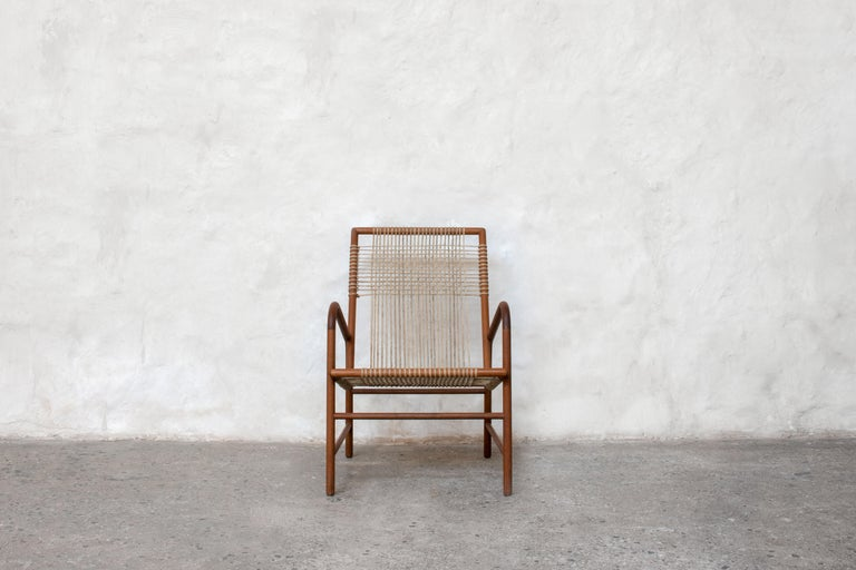 Lounge Chair in Teak with Woven Seat in Rope Handmade by Studio Mumbai In New Condition For Sale In Brussels, BE
