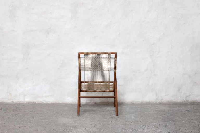 Lounge Chair in Teak with Woven Seat in Rope Handmade by Studio Mumbai For Sale 1