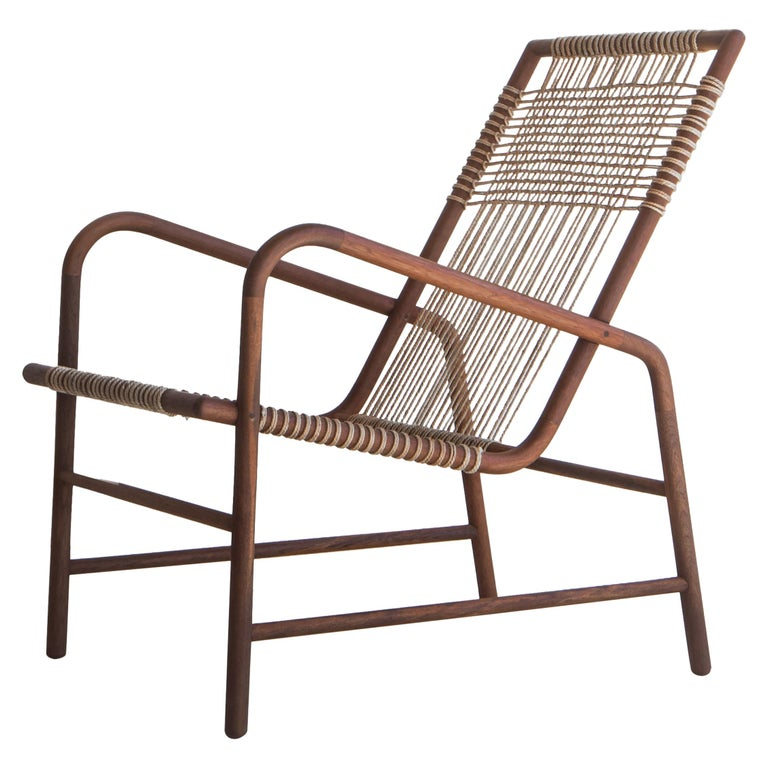 Lounge Chair in Teak with Woven Seat in Rope Handmade by Studio Mumbai For Sale