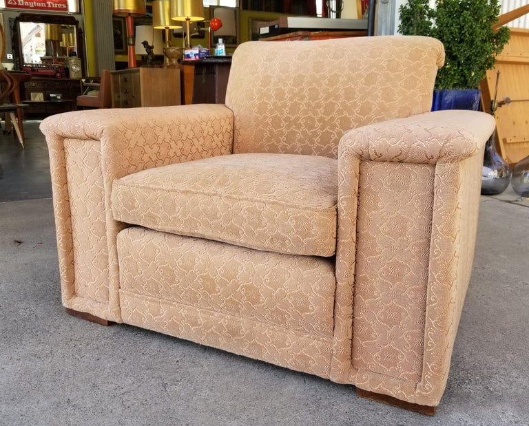 Fabric Lounge Chair Manner of Paul Frankl For Sale
