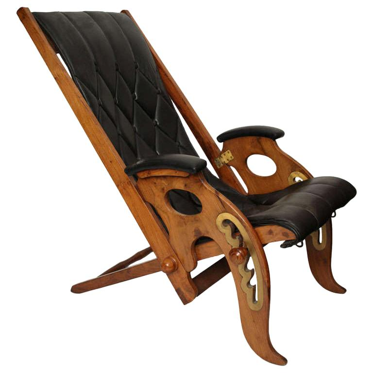 Lounge Chair Mid Century Modern Leather adjustable Italy 1960's For Sale