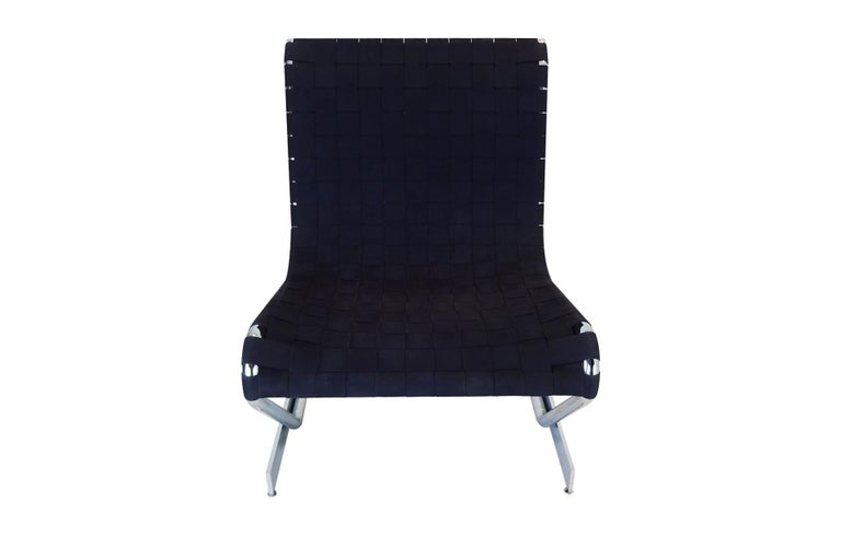 Mid-Century Modern Lounge Chair, Midcentury Scandinavian Cantilever Chrome and Webbing For Sale
