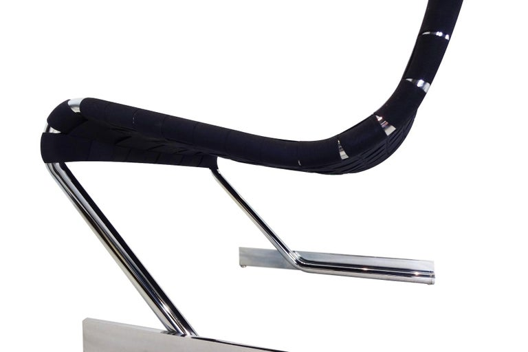 Lounge Chair, Midcentury Scandinavian Cantilever Chrome and Webbing In Good Condition For Sale In Highclere, Newbury