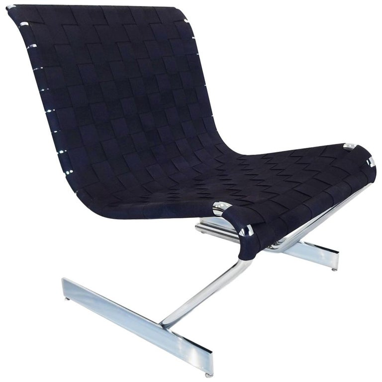 Lounge Chair, Midcentury Scandinavian Cantilever Chrome and Webbing For Sale