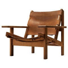 Lounge Chair Model 168 in Oak and Cognac Leather by Erling Jessen