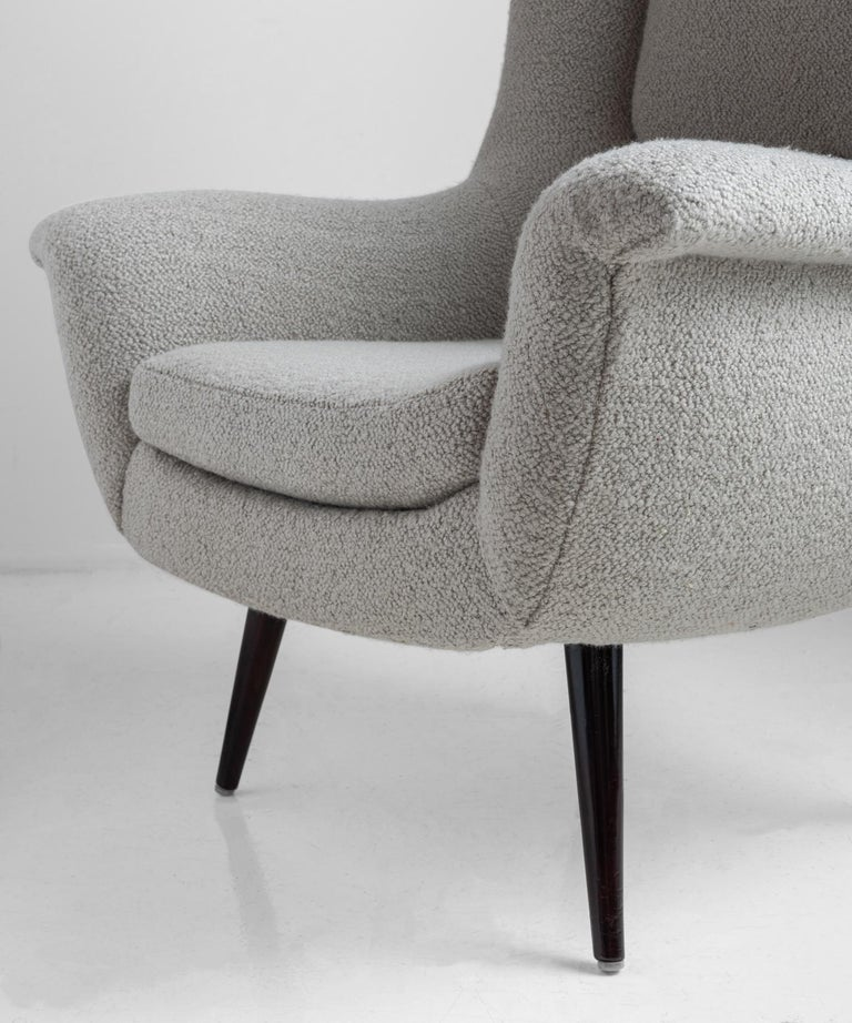 American Lounge Chair and Ottoman by Lawrence Peabody in a Belgian Textured Wool Blend For Sale