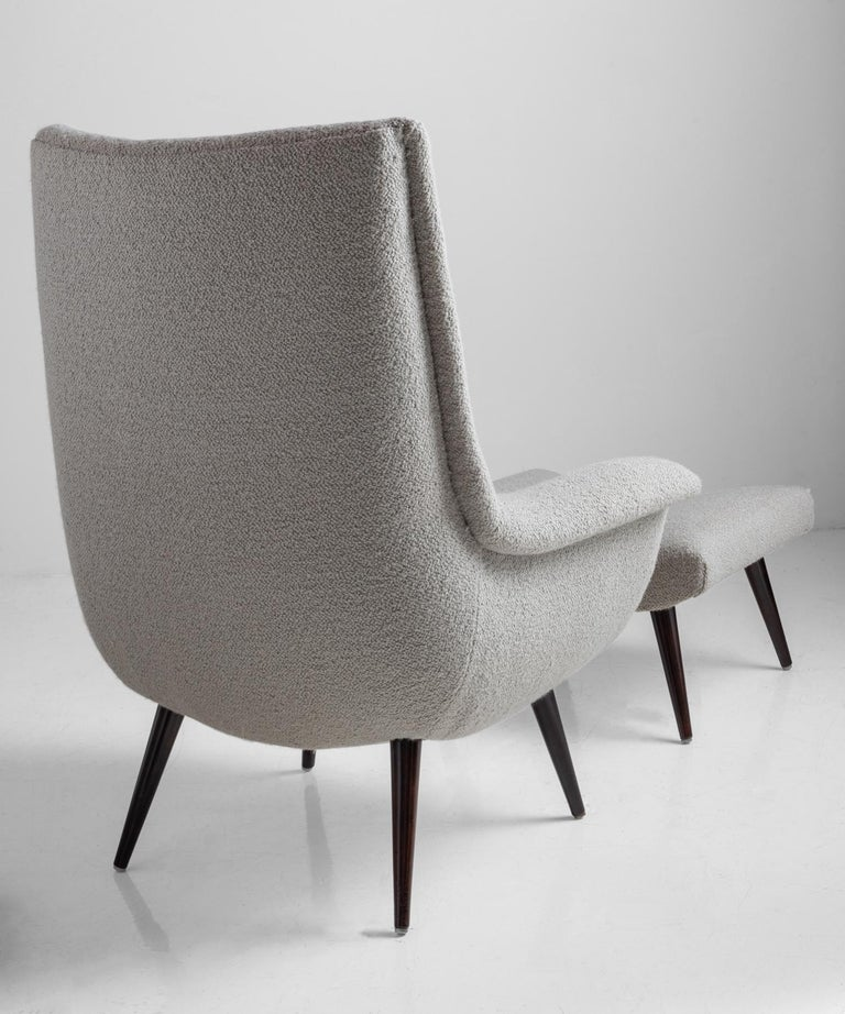 Lounge Chair and Ottoman by Lawrence Peabody in a Belgian Textured Wool Blend In Good Condition For Sale In Culver City, CA
