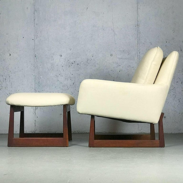 Fabric Lounge Chair and Ottoman Designed by Jens Risom For Sale