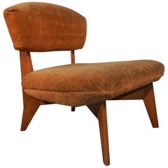 "Lounge Chair ""Reconstruction"" in Oak and Velvet in the Style of Marcel Gascoin"