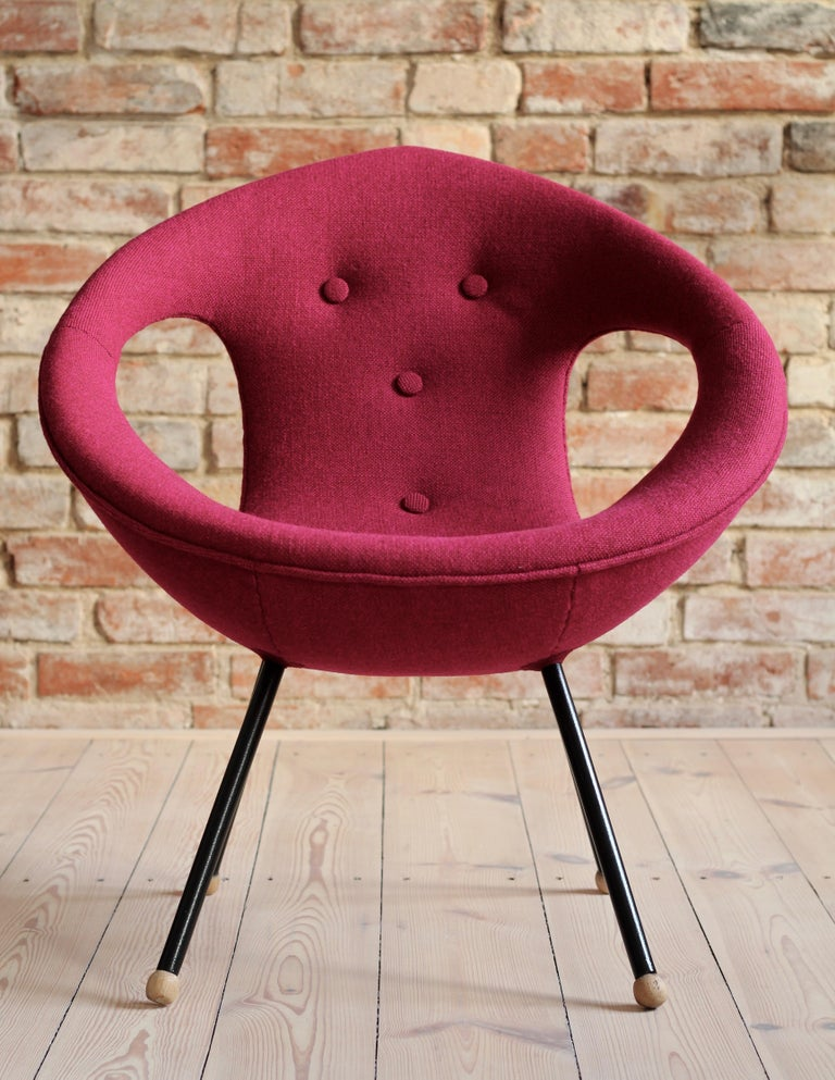 Polish Lounge Chair, UFO, Reupholstered in Kvadrat Fabric, Space Age, Midcentury For Sale