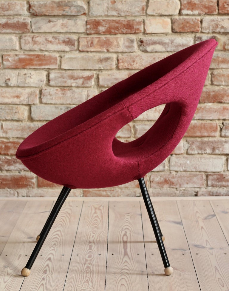 Lounge Chair, UFO, Reupholstered in Kvadrat Fabric, Space Age, Midcentury In Good Condition For Sale In Wrocław, Poland