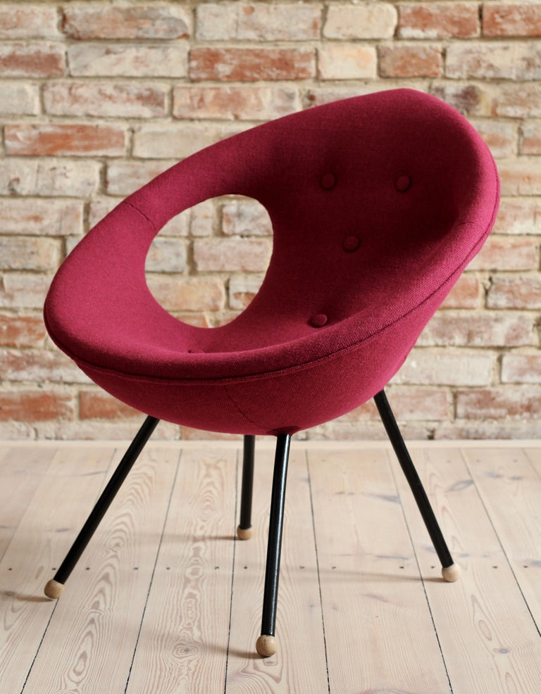 20th Century Lounge Chair, UFO, Reupholstered in Kvadrat Fabric, Space Age, Midcentury For Sale