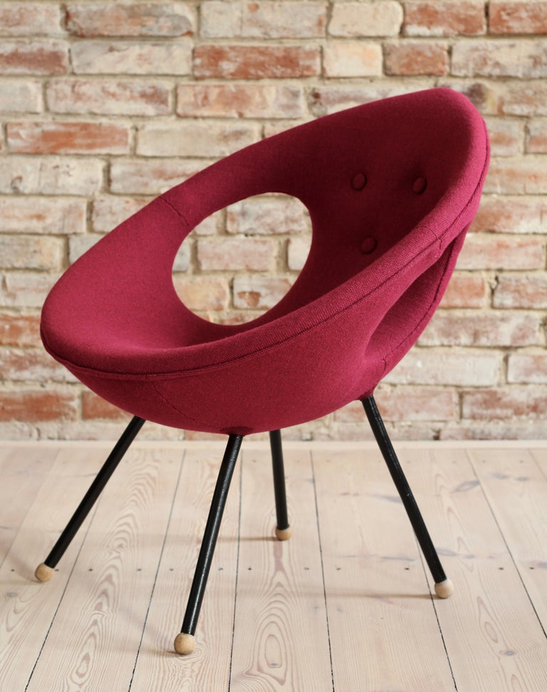 Wool Lounge Chair, UFO, Reupholstered in Kvadrat Fabric, Space Age, Midcentury For Sale