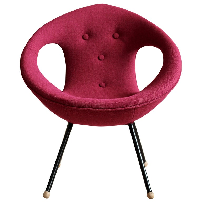 Lounge Chair, UFO, Reupholstered in Kvadrat Fabric, Space Age, Midcentury For Sale