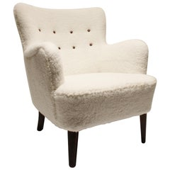 Lounge Chair Upholstered with White Wool Fabric and Leather Buttons, 1930s