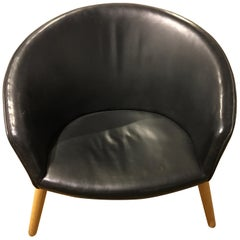 Lounge Chair with Black Leather Designet by Nanna Ditzel