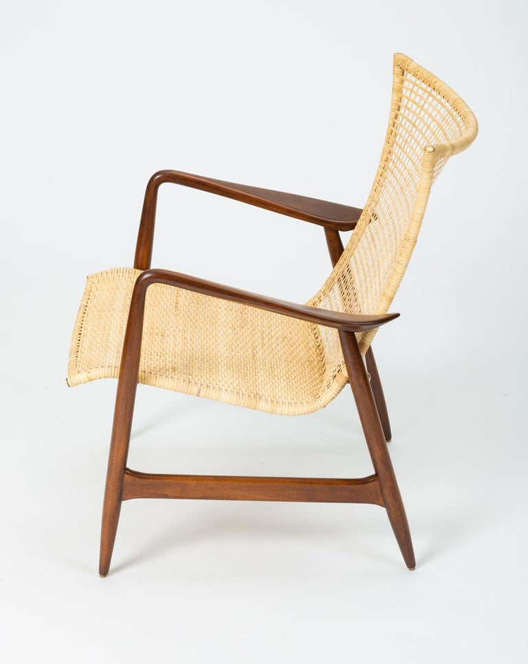 Scandinavian Modern Lounge Chair with Cane Seat by Ib Kofod-Larsen for Selig