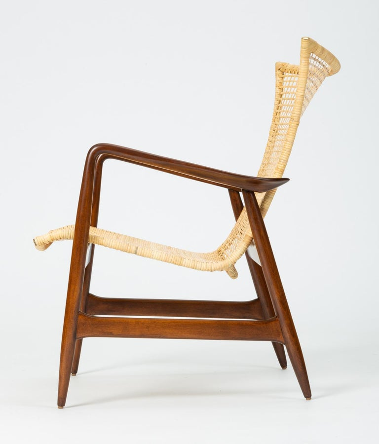 Danish Lounge Chair with Cane Seat by Ib Kofod-Larsen for Selig