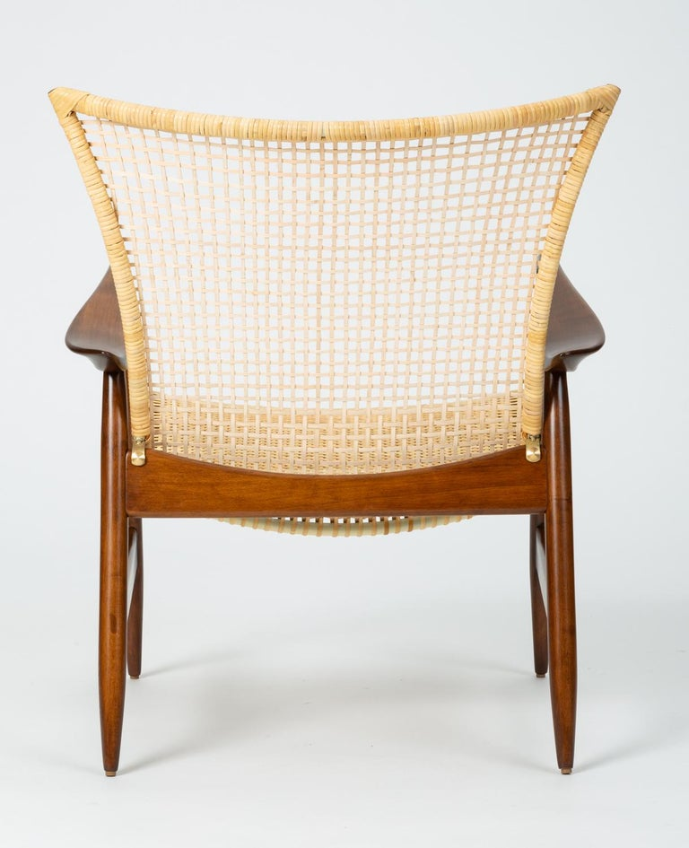 Hand-Woven Lounge Chair with Cane Seat by Ib Kofod-Larsen for Selig