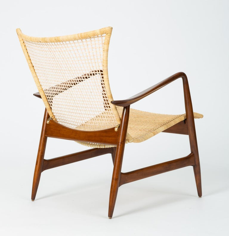Lounge Chair with Cane Seat by Ib Kofod-Larsen for Selig In Excellent Condition In Los Angeles, CA