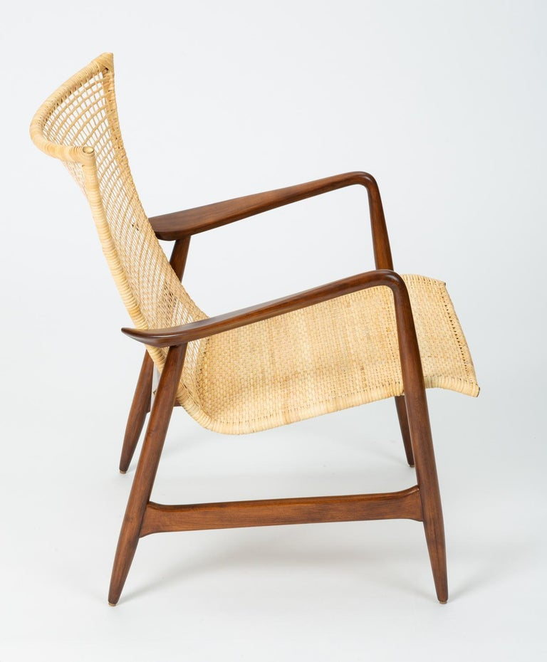 Steel Lounge Chair with Cane Seat by Ib Kofod-Larsen for Selig