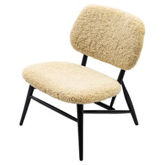 Lounge Chair with Sheep Skin by Slöjd & Möbler, in the Manner of Alf Svensson