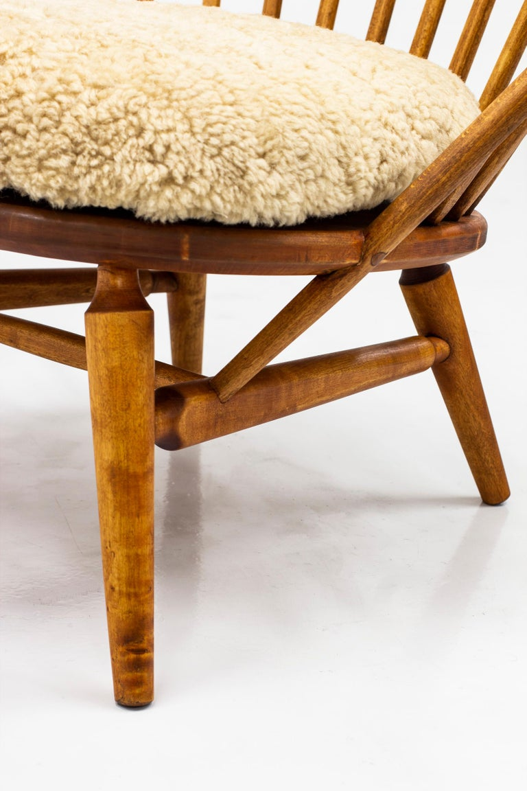 Lounge Chair with Sheep Skin Seat by Engström & Myrstrand, Sweden, 1950s For Sale 4