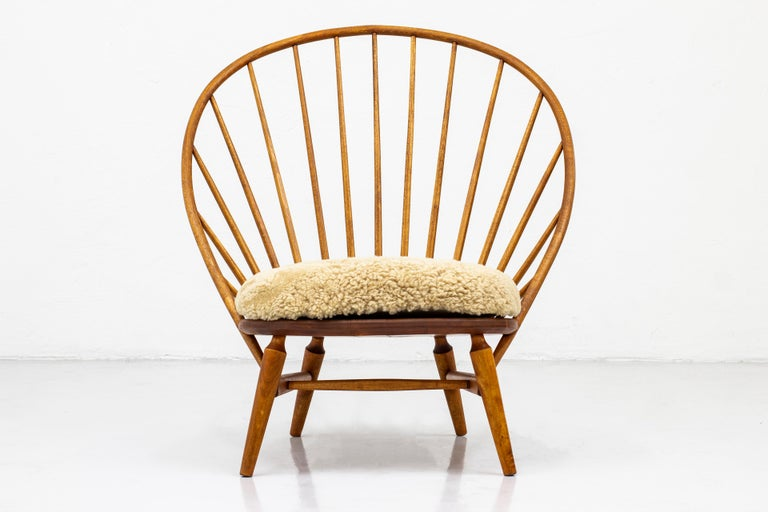Lounge Chair with Sheep Skin Seat by Engström & Myrstrand, Sweden, 1950s For Sale 7