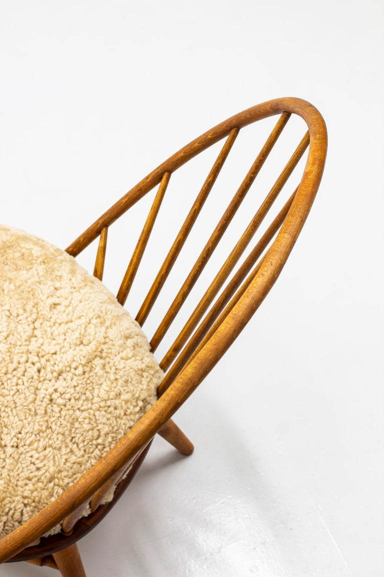 Scandinavian Modern Lounge Chair with Sheep Skin Seat by Engström & Myrstrand, Sweden, 1950s For Sale